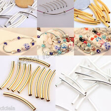 New 50/100Pcs Silver/Gold Copper Smooth Curved Tube Spacer Beads for DIY Jewelry