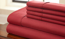 Canadian Bedding Items)- Burgundy (Solid/Striped) 1000TC EGYPTIAN COTTON