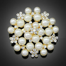Silver Faux Pearl Rhinestone diamate Crystal Vintage Flower Brooch Pin Brooches