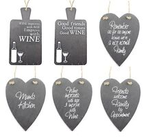 SHABBY COUNTRY STYLE CHIC SLATE HANGING HEART/TRIVET PLAQUES