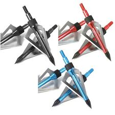 6 Archery Target Hunting Points Arrow Broadheads Screw Tips 6 Blades /100 Grains