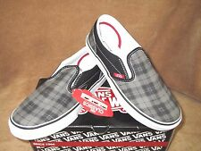 NEW VANS CLASSIC SLIP ON LT PLAID SKATE SHOE BLACK/PEWTER BOYS SZ 11