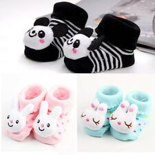 1 Pair Cute Newborn Baby Girl Boy Cartoon Anti-slip Socks Slipper Shoes Boots