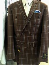 New EJ Samuel 2 Piece Checkered Brown Double Breasted Suit - 2 Pleat Front Pants