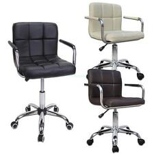 Office Chair Back Adjustable Swivel PU Leather Computer Desk Seat Chrome Base