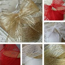 63mm Wired Web Effect Ribbon. Gold White Red Silver. Christmas, Wreath Tree