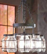 Chandelier Light Canning Mason Jar Wrought Iron Dining Room Rustic Country Decor