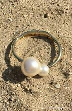 NEW USA Mismatched Asymmetrical Faux Pearl Hinge Cuff Bracelet Gold Tone