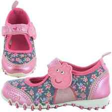 Girls Size 4 - 10 Pink Denim Blue Velcro Trainers PEPPA PIG Shoes NEW Infants