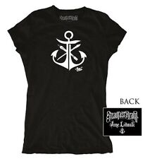 Womens Anchor by Jime Litwalk Artist Paint Brushes Tattoo Black T-Shirt