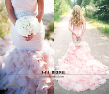 Gorgeous Mermaid Blush Beaded Wedding Dresses Sweetheart Ruffled Bridal Gowns