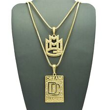 """Hip Hop Iced Out Micro MMG, DC Pendant 24"""",30"""" Box Chain 2 Necklace Set RC1350"""