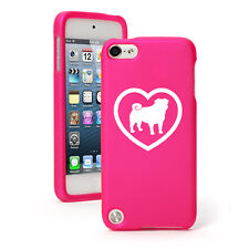 For Apple iPod Touch 4th 5th 6th Rubber Hard Case Cover Pug Heart