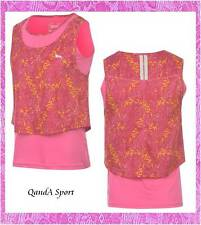 Girls Pink w/ Pink Patterned Gym Aerobic Dance Running Layered Vest - Lonsdale
