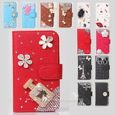 Color Bling Diamond Rose Wallet Leather Flip Case Cover for Motorola Cell phone
