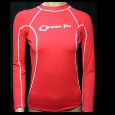 Womens Rashguard Pink Long Sleeve Sun Shirts Uv Surf Swim Top Lycra Swimwear New