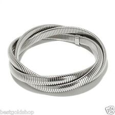 QVC Twisted Omega Stretch Bangle Bracelet Stainless Steel by Design