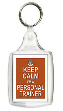 KEEP CALM PERSONAL TRAINER KEYRING Gift Present Keep Fit Exercise Work Out