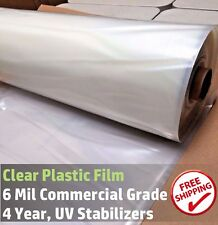 Clear Greenhouse Plastic Poly Film 4 Year 6 mil, 20 ft wide x Various Sizes