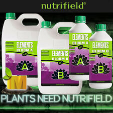 "Nutrifield Hydroponics Plant Growth Base Nutrients ""Elements Bloom"" A+B 1L or 5L"