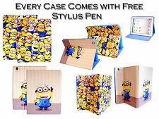 New Despicable Me Minion PU Leather Stand Wallet Case Cover For Apple iPad Air 5