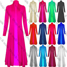 Womens Ladies Floaty Long Sleeve Open Front Maxi Cardigan Casual Jacket Coat Top