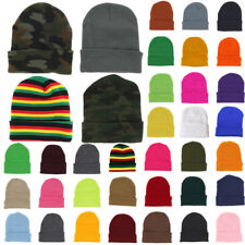 Plain Beanie Knit Ski Cap Skull Hat Warm Solid Color Winter Cuff New Blank Beany
