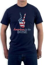 4th of July - USA Patriotic American to The Bone T-Shirt Peace Sign
