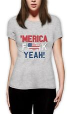 AMERICA F*CK YEAH! Patriotic USA Flag 4th of July Women T-Shirt Independence Day