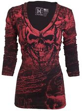 Xtreme Couture AFFLICTION Womens LS T-Shirt KILLER Tattoo Biker Sinful S-XL $58