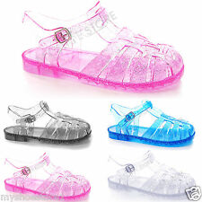 KIDS CHILDREN GIRLS TODDLERS FLAT SUMMER BEACH JELLY SANDALS FLIP FLOPS SHOES