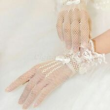 Sexy Elastic Net Ribbon Bow Lace Short Full Gloves Wedding Bridal Cocktail Party