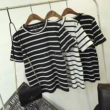 2015 New Fashion Short Sleeve 0-Neck Casual Striped Sports Top Basic T-Shirt