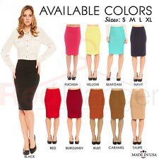 Sexy Fitted Bodycon Elegant Business Casual Solid Straight Pencil Skirt -USA