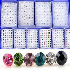 Wholesale 40 pcs Lots 3/4/5mm Silver Plated Rhinestone Ear Stud Earring Jewelry