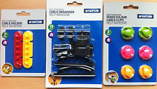 Self Adhesive Cable Clips Holder Tidy Kit Wire Organiser USB Lead Velcro Straps