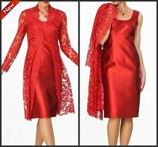 Red Lace Mother Of The Bride Dress With Coat Knee Length Formal Gown For Wedding