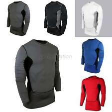 Men Compression Long Sleeve Tight Shirt Base Layer Fitness Gym Workout Top S-XXL