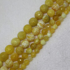 6-14mm Faceted Yellow Fire Crab Agate Round DIY Loose Beads 15""