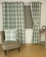 JACQUARD TARTAN CHECK DUCK EGG BLUE LINED RING TOP CURTAINS DRAPES 9 SIZES