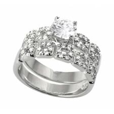 925 Sterling Silver Vintage Round CZ Engagement Ring Wedding Ring set SZ6-9