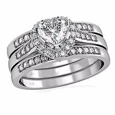 Women's Sterling Silver 2.1 Ct Heart Cut Wedding Ring band Set Size 5 6 7 8 9 10