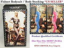 Fishnet Body Stocking/ Sexy Body Suit - Open Crotch, Well Stretch *US Seller*