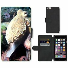 Cell Phone Card Slot PU Leather Wallet Case For Apple iPhone Octopus