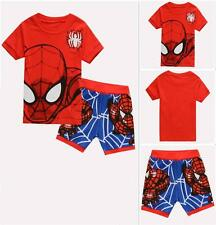 Kids Boys Superhero Spiderman Sleepwear Outfits 2Pcs Pajamas Suits Sets Sz 1-7 Y