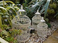 set of 3 decorative Bird Cages Birdcage Shabby antique Chic Cream
