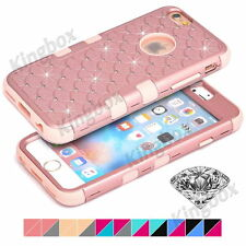 Heavy Duty Impact Rubber Bling Diamond Hard PC Matte Combo Case For Apple iPhone