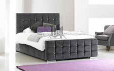 Florence Upholstered Charcoal Chenille Bed Frame All Colours & Sizes Made In UK