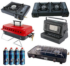 PORTABLE HEATER DOUBLE GAS DUAL 2 BURNER CAMPING COOKER FISHING BBQ STOVE W/ GAS