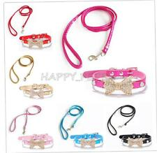 Pet Rhinestone Bow Collar Leash Harness Lead Set Dog Kitten Puppy Cat Walking